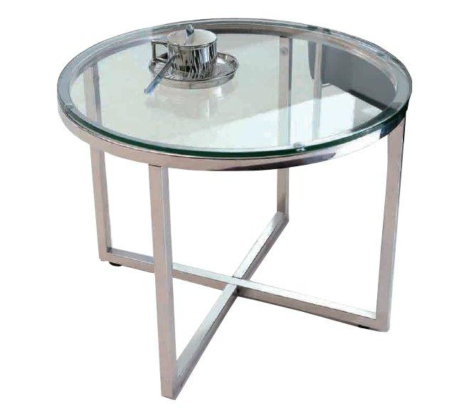 Talulah table basse ronde en verre et pietement acier chrome for Table basse ronde verre