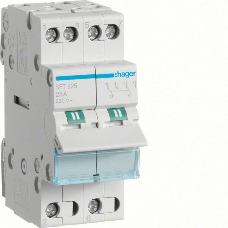HAGER - INVERSEUR MODULAIRE 2 PÔLES 25A, POINT COMMUN AMONT, I-0-II (SFT225)