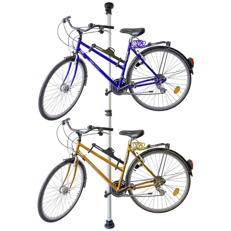 PORTE-VÉLO RANG- VÉLO POUR 2 BICYCLETTES ACCROCHE BARRE TÉLESCOPIQUE POUR VÉLO GARAGE 160-340 CM, GRIS - RELAXDAYS