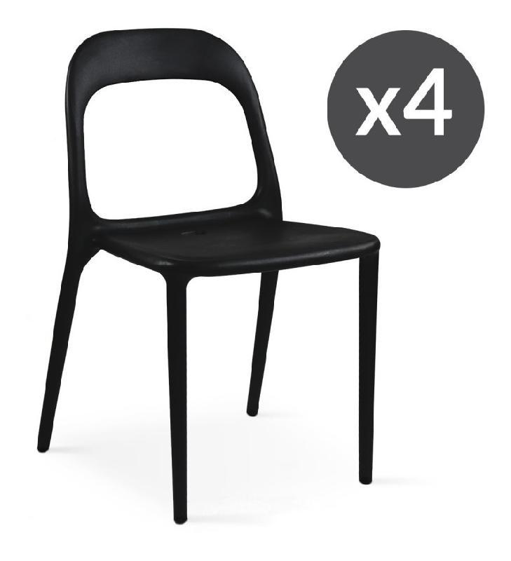 Chaises de jardin en plastique noir boutique jardin for Chaise plastique noir