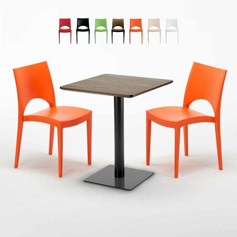 TABLE CARRÉE 60X60 PIED NOIR ET PLATEAU BOIS AVEC 2 CHAISES COLORÉES PARIS KISS | ORANGE
