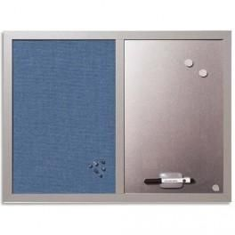 bisilque tableau mixte affichage tissu bleu surface criture argent magn tique 60x45 cm cadre. Black Bedroom Furniture Sets. Home Design Ideas