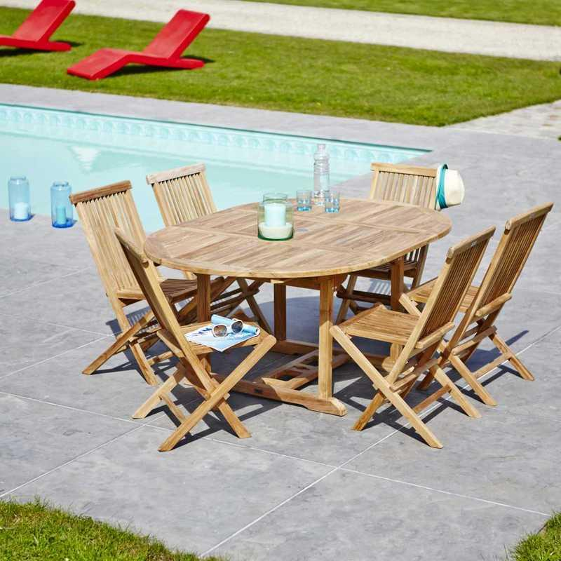 Salon de jardin en teck brut qualite grade a 6 8 pers - Salon de jardin en teck garden and co ...