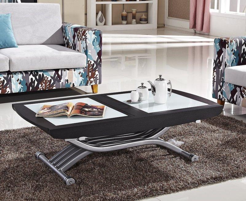 94ffbe1a87aa64 TABLE RELEVABLE LIFT GLASS WENGÉ, VERRE BLANC, EXTENSIBLE EN TABLE REPAS 8  COUVERTS.