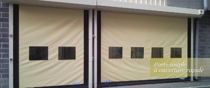 Porte rapide / souple / à enroulement / en métal / utilisation intérieure et extérieure