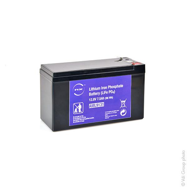 Batterie Lithium Fer Phosphate UN38.3 (96Wh) 12V 7.5Ah F6.35