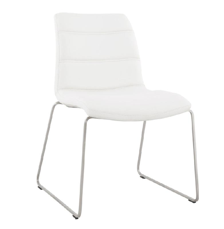Chaise confortable 39 waw 39 en mati re synth tique blanche for Chaise blanche confortable