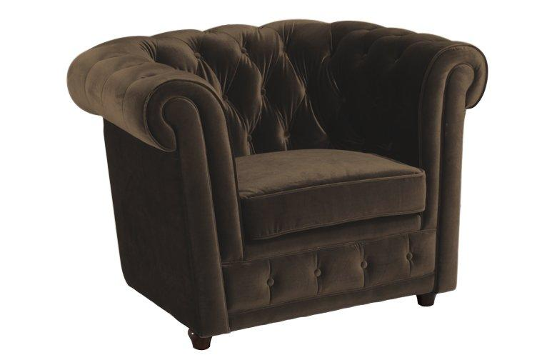 fauteuil chesterfield deluxe en velours taupe capitonne. Black Bedroom Furniture Sets. Home Design Ideas