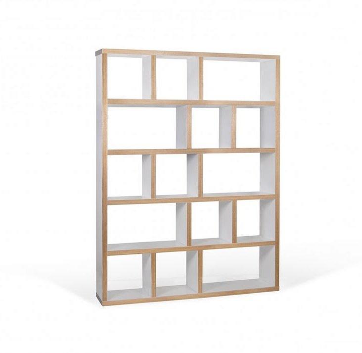 Berlin bibliothèque étagère blanche mate et bois 15 casiers