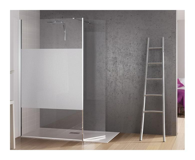 Paroi de douche fixe avec bande centrale d polie volet - Porte de douche avec paroi fixe ...