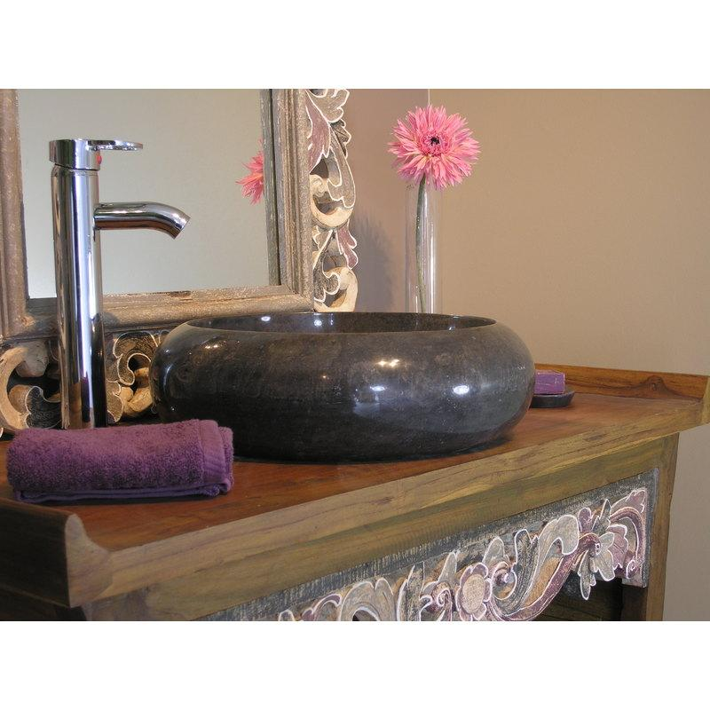 vasque salle de bain poser en marbre venise noir 40cm wanda collection comparer les prix de. Black Bedroom Furniture Sets. Home Design Ideas
