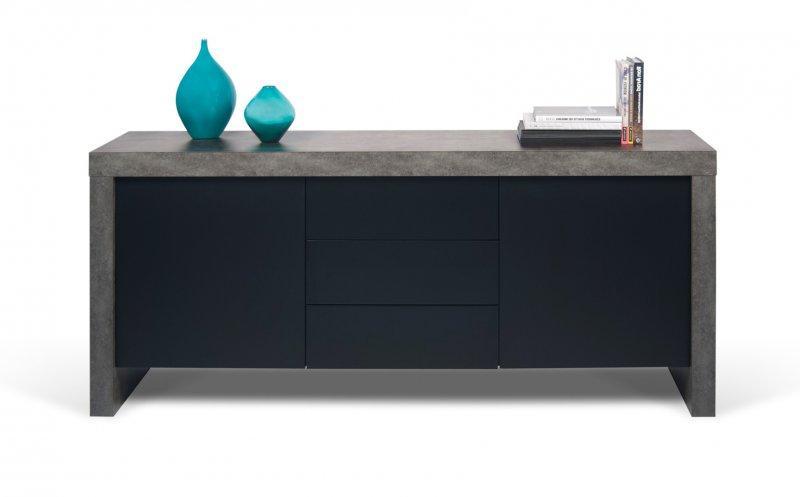 Temahome kobe buffet design aspect beton 2 portes 3 tiroirs