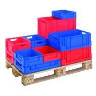 Bacs norme europe plastique. l400xp300xh180mm. coloris rouge