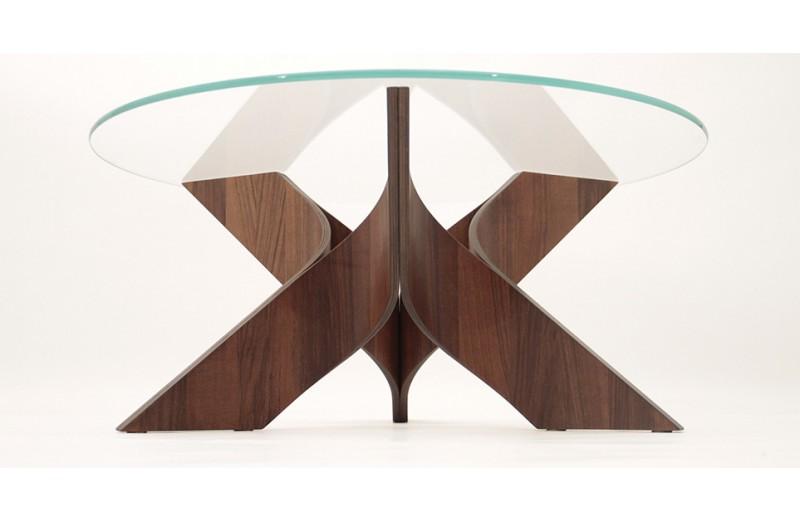 54388f478ce22 Table basse ronde design astoria - chêne   noyer - diamètre 80 cm