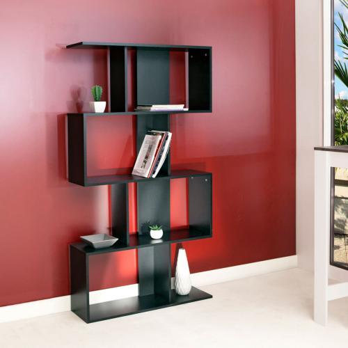 Meuble bibliotheque generique etagere deco noir - Meuble etagere noir ...
