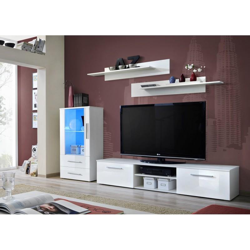 meuble tv design galino viii 250cm blanc brillant paris prix. Black Bedroom Furniture Sets. Home Design Ideas