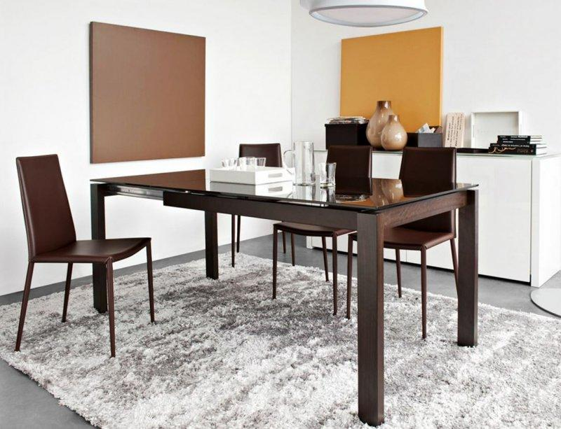 Calligaris Table Repas Extensible Baron 130x85 Pietement Wenge
