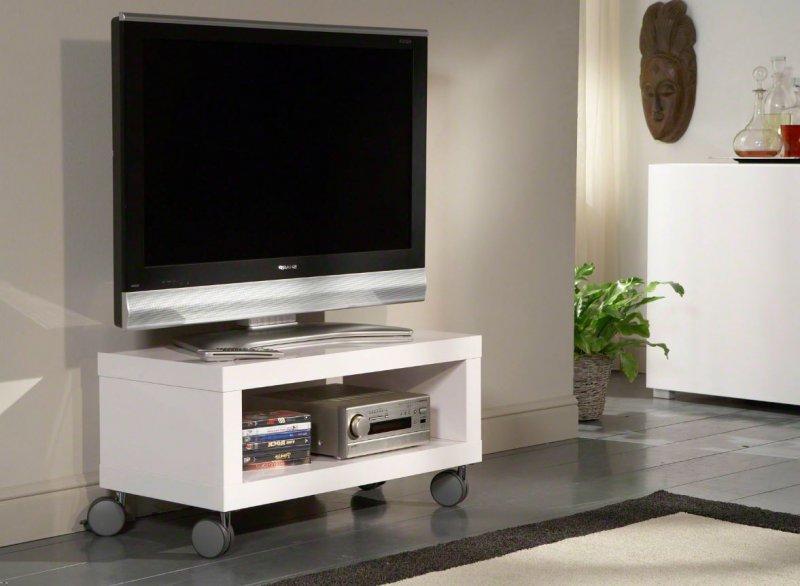 meuble tv design mobile elegance avec rangements laqu blanc brillant