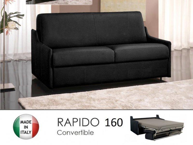 canape lit 4 places luna convertible ouverture rapido 160 cm microfibre noir. Black Bedroom Furniture Sets. Home Design Ideas