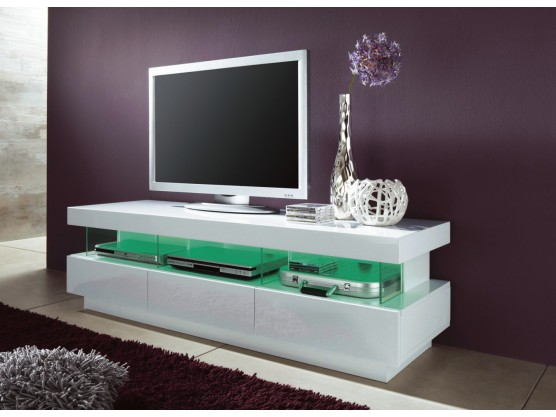 meuble tv a led blanc laque tron 160 cm. Black Bedroom Furniture Sets. Home Design Ideas