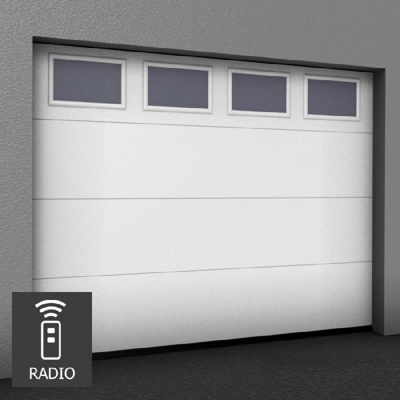 Porte de garage sectionnelle sur mesure motoris e hublots rectangulaires horizontaux - Porte garage sur mesure ...