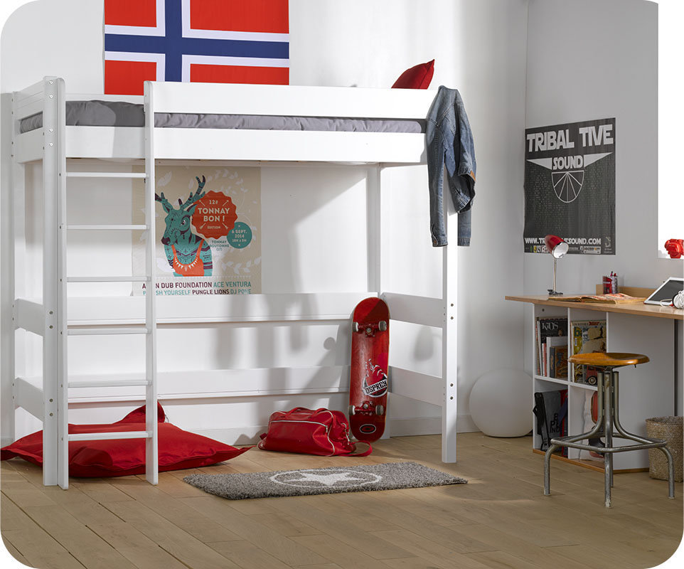 lit mezzanine enfant clay blanc 90x190 cm. Black Bedroom Furniture Sets. Home Design Ideas