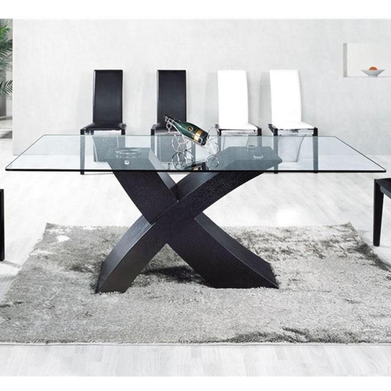 TABLE EN VERRE MIX PIED NOIR  150 X 90CM