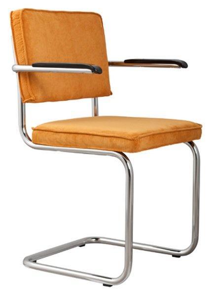 Chaise zuiver ridge rib velours jaune avec cadre chrome for Chaise zuiver