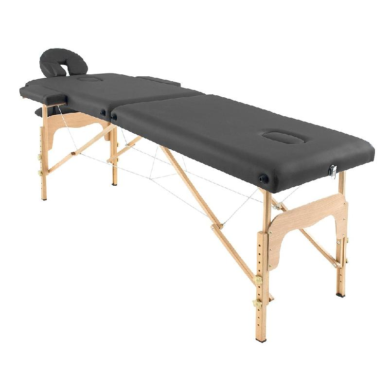 Table de massage pliante bois 182 x 66 cm noire - Tables de massage pliante ...