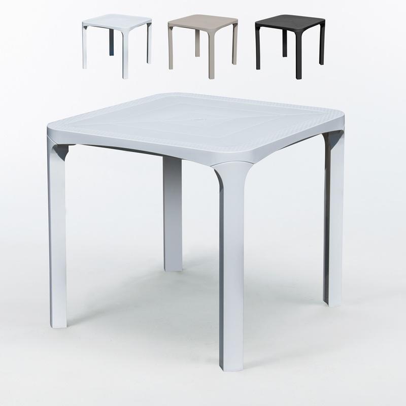 Table bar caf poly rotin 80x80 grand soleil ole blanc for Table en rotin blanc