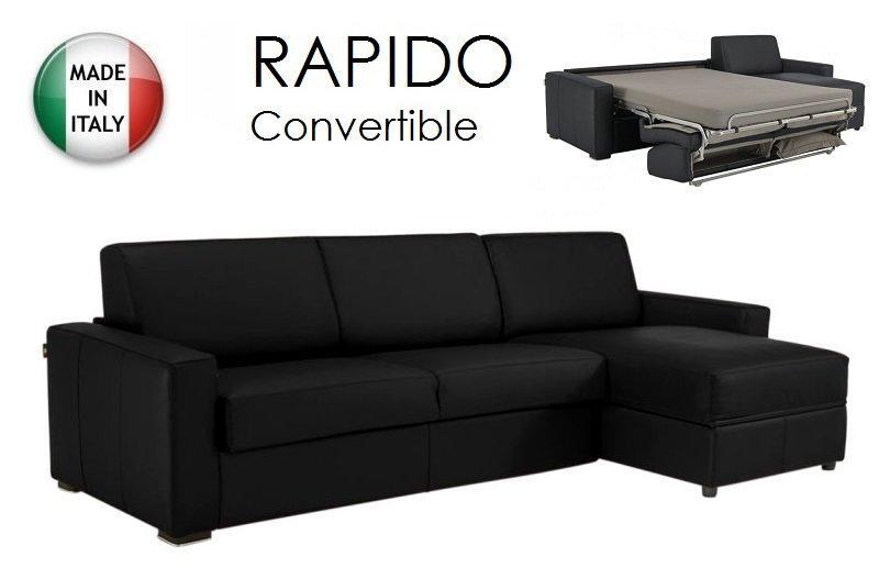 canape d 39 angle dreamer convertible ouverture rapido 120cm cuir eco noir couchage quotidien. Black Bedroom Furniture Sets. Home Design Ideas