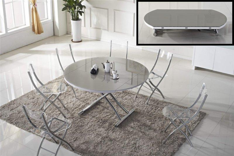 Table basse ronde relevable et extensible planet gris clair for Table extensible gris et bois