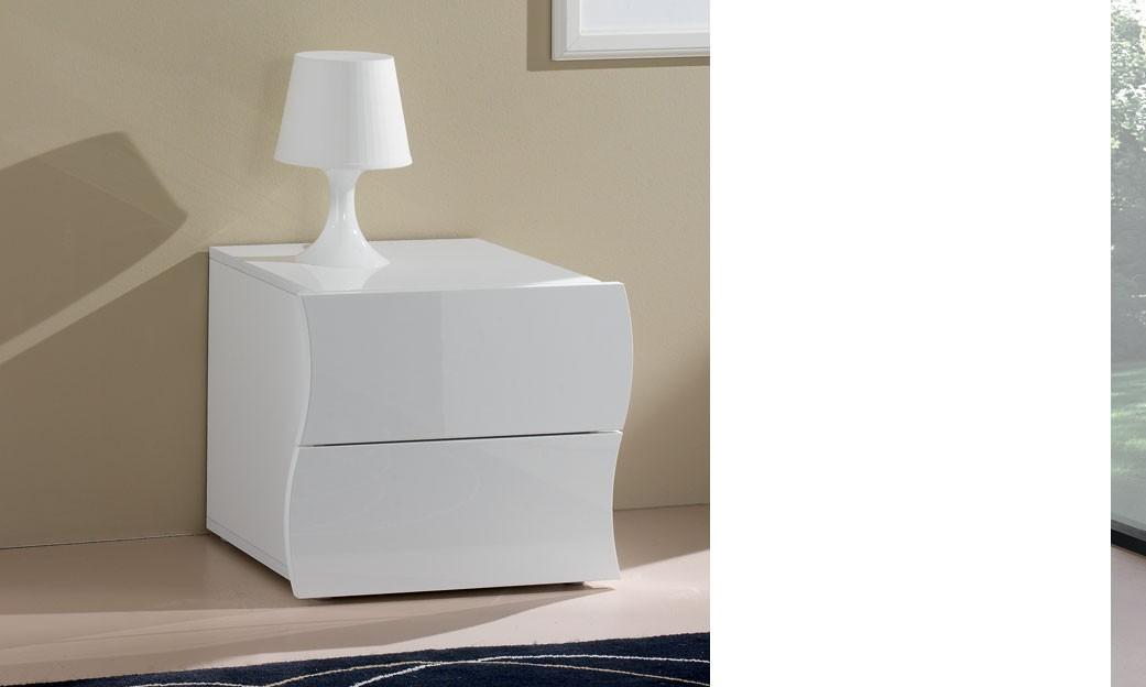 Table De Chevet 2 Tiroirs Blanc Laque Design Swell