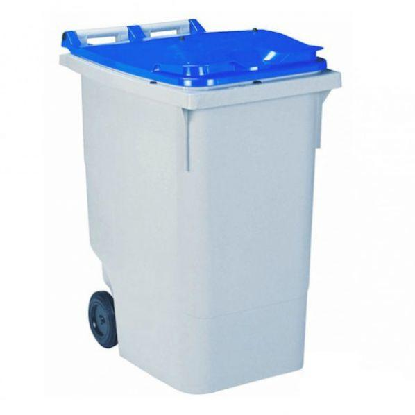 Conteneur poubelle bicolore - 340 litres gris/bleu