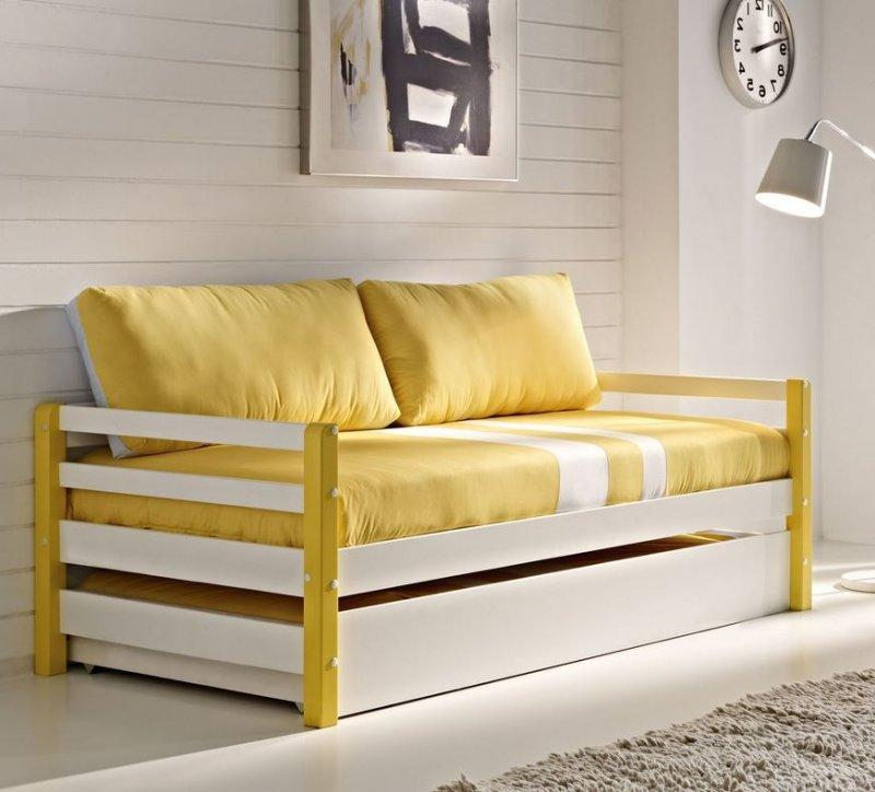 lit gigogne comete en pin massif blanc et jaune couchage. Black Bedroom Furniture Sets. Home Design Ideas
