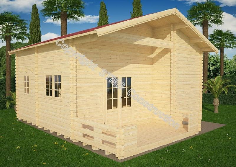 Chalet en bois plain-pied Nice 40M / madrier 44 mm / 40 m² / toit double pente
