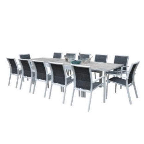 ENSEMBLE MODULOWOOD PLATEAU DÉCO BOIS BLANC T8/12+F12 ENSEMBLE TABLE MODULABLE 8-12 PERSONNES + 12 FAUTEUILS 600345