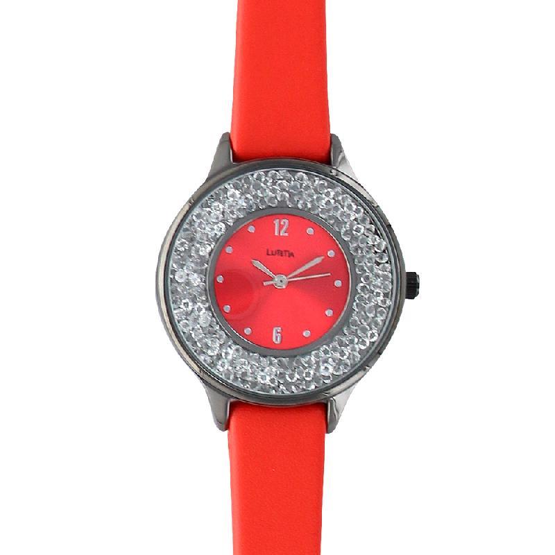 Montre lutetia rouge boîtier métal gris anthracite cadran avec pierres et bracelet synthétiques