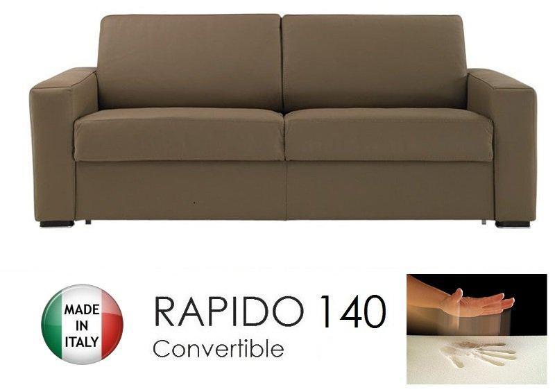 canape convertible rapido 140cm dreamer cuir vachette taupe matelas 140 14 190 cm a memoire de. Black Bedroom Furniture Sets. Home Design Ideas