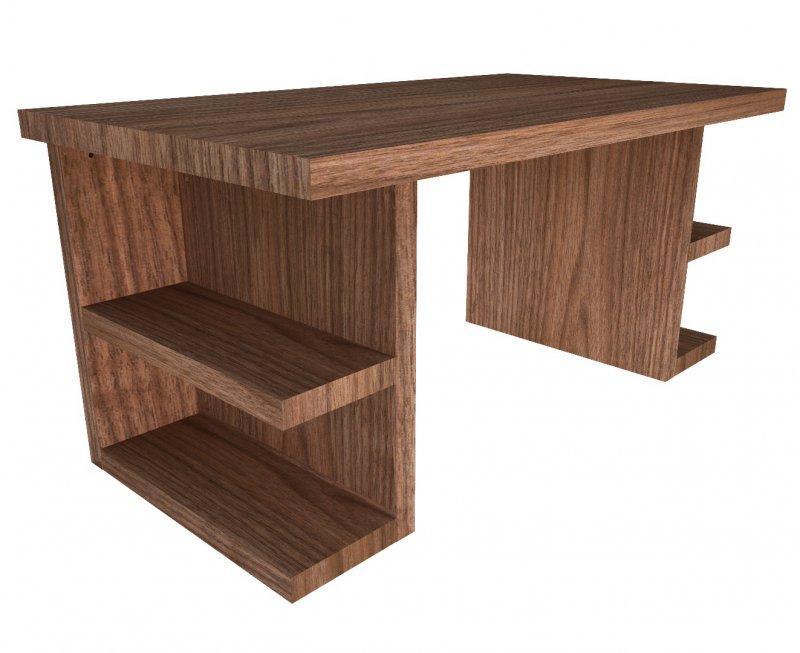 Multi bureau bois pietement avec etageres finition noyer