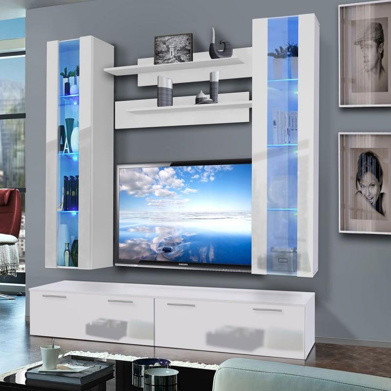 MEUBLE TV MURAL LEDGE V TWIN 200CM BLANC - PARIS PRIX