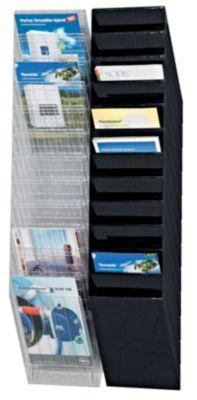 durable distributeurs muraux de prospectus 12 x format a4 vertical noir comparer les prix de. Black Bedroom Furniture Sets. Home Design Ideas