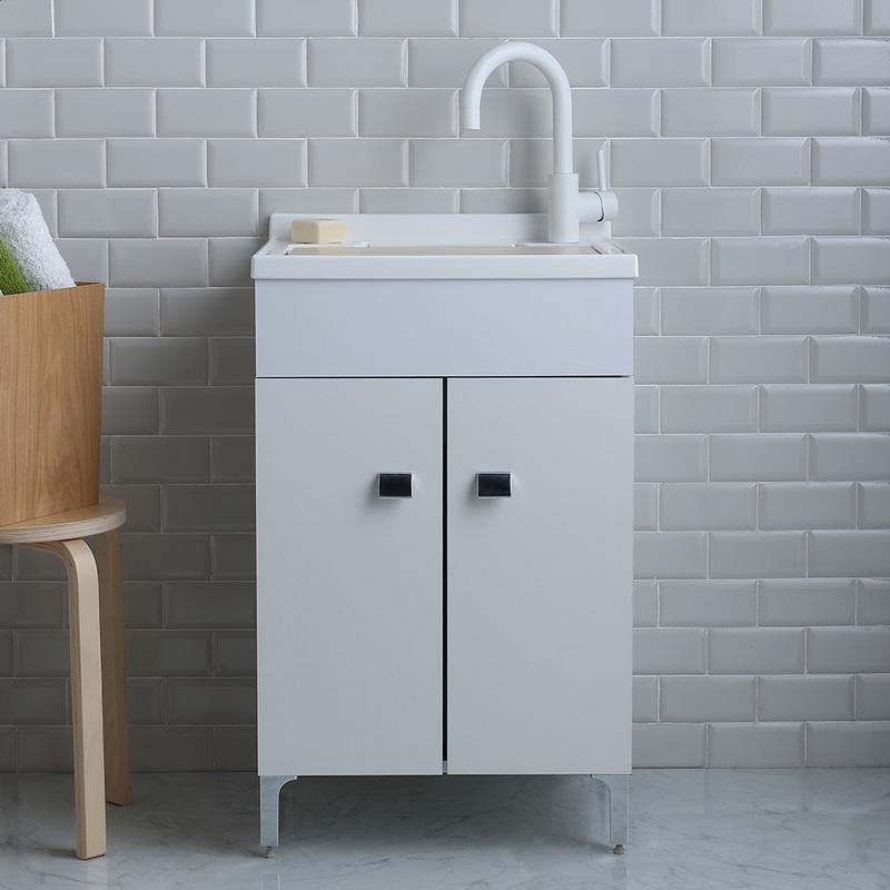 Lavoir de buanderie 50x50 cm avec meuble blanc et planche for Meuble 50x50