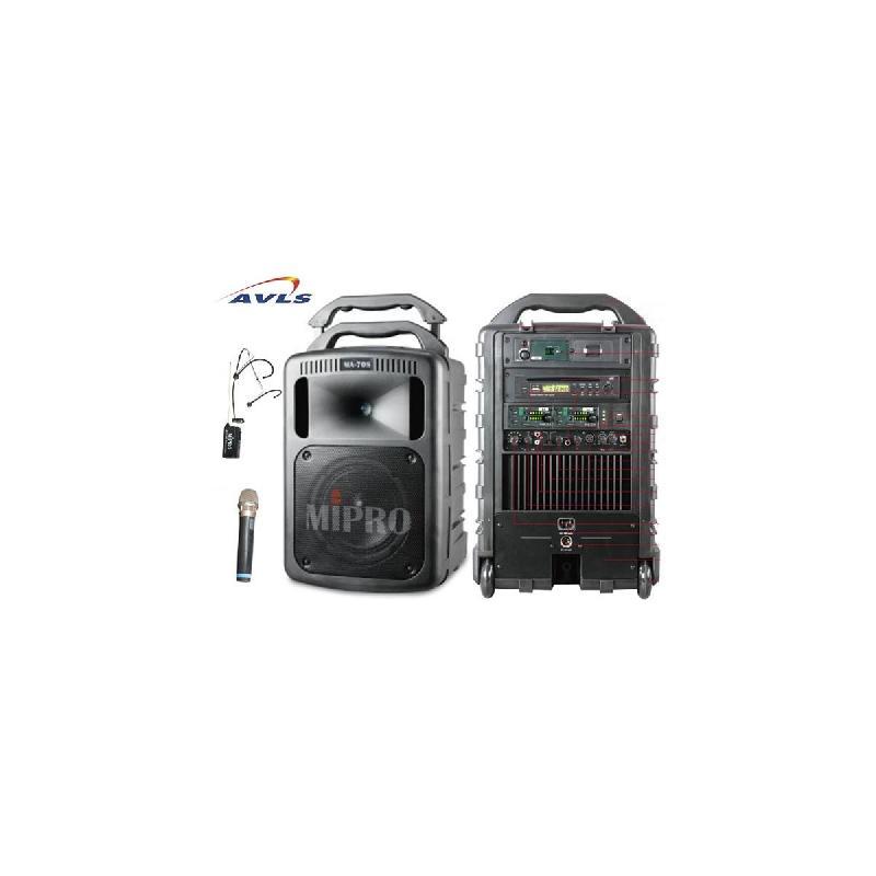 SONO PORTABLE BATTERIE/SECTEUR MIPRO MA 708 B (170 WATTS) BLUETOOTH AVEC 1 MICRO MAIN ET 1 MICRO SERRE TÊTE MU53HN SANS FIL HF 16 FRÉQUENCES POUR 150 À 300 PERSONNES (LECTEUR EN OPTION CD-USB-MP3) (DURANT LA GARANTIE : PRÊT EN MAGASIN GRATUIT D'UN APP