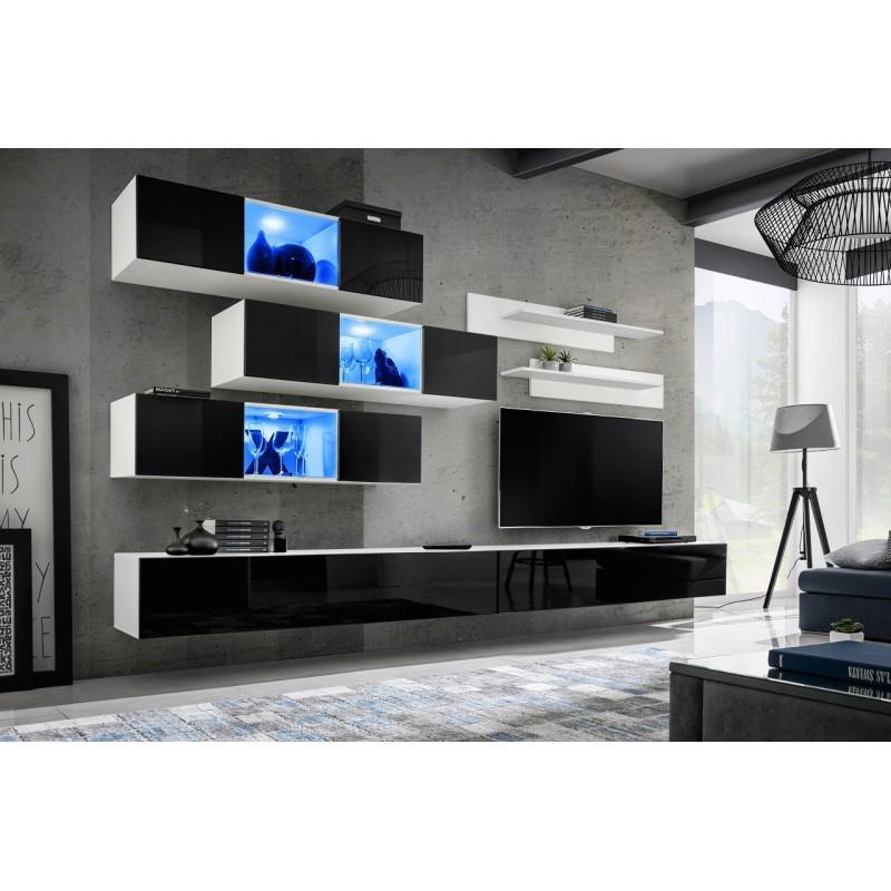 Meuble Tv Mural Design Fly Xiv 320cm Noir Blanc Paris Prix