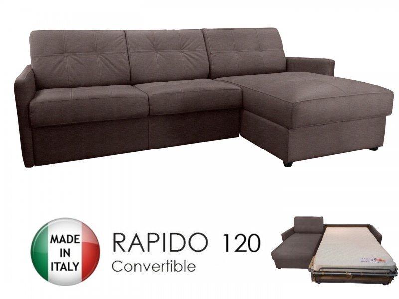 canape d 39 angle reversible ouverture rapido cube 120 cm coffre tissu microfibre taupe. Black Bedroom Furniture Sets. Home Design Ideas