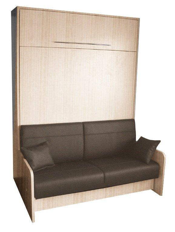 armoire lit escamotable space sofa chene canape integre marron couchage 140 20 200 cm. Black Bedroom Furniture Sets. Home Design Ideas