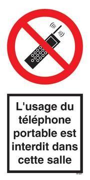 INTERDICTION - PANNEAU TÉLÉPHONE PORTABLE INTERDIT