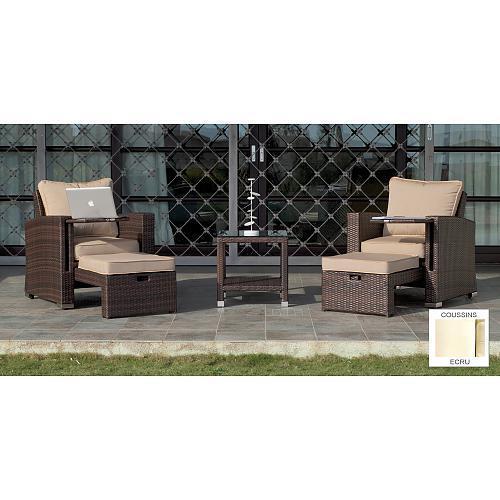 salon de jardin vanila 2 fauteuils avec repose pieds 1 table basse coussins indoor outdoor. Black Bedroom Furniture Sets. Home Design Ideas