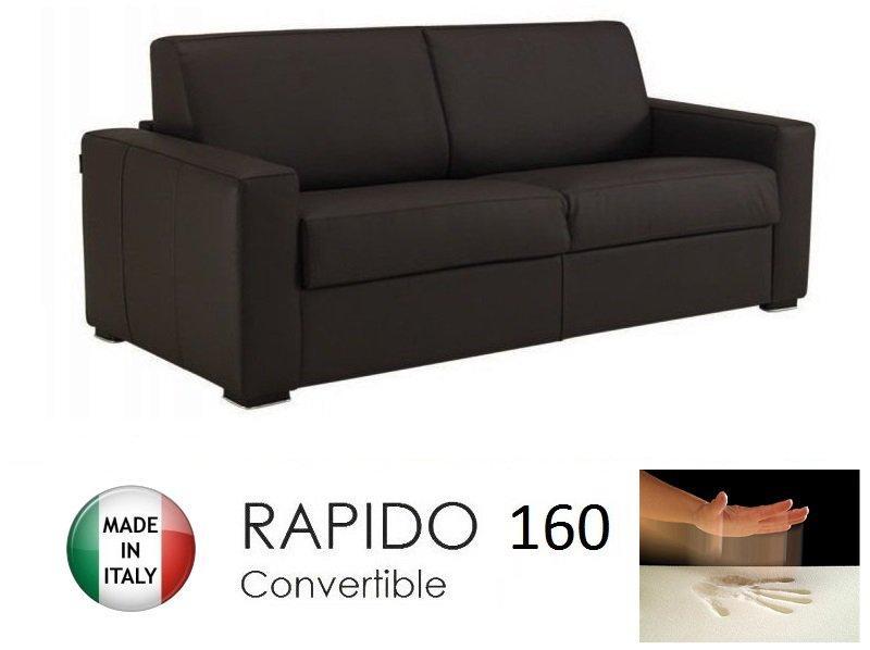 Canape convertible rapido 160cm dreamer cuir vachette marron matelas 160 14 - Canape convertible rapido fly ...